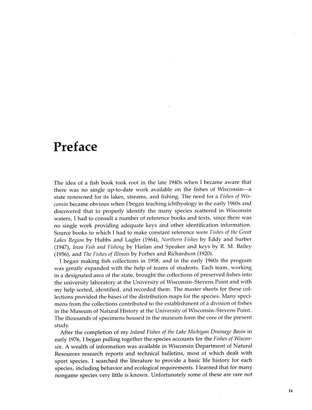 Ecology And Natural Resources Fishes Of Wisconsin Preface