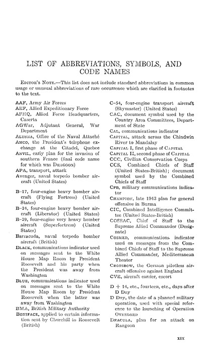 FRUS Foreign Relations Of The United States Conference At Quebec 1944 List Abbreviations Symbols And Code Names