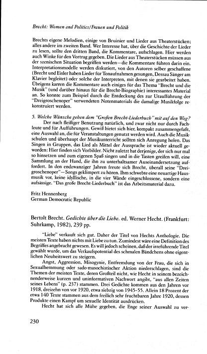 German Studies Brecht Women And Politics Gedichte über