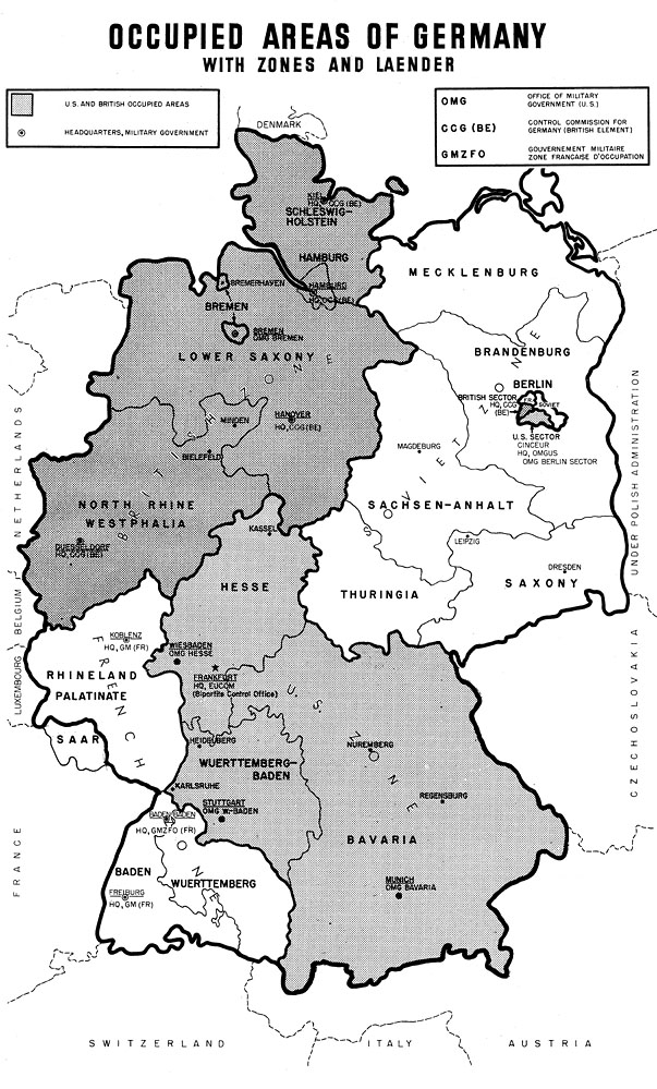 history the german press in the us occupied area 1945 1948 special report november 1948 map occupied areas of germany with zones and laedner