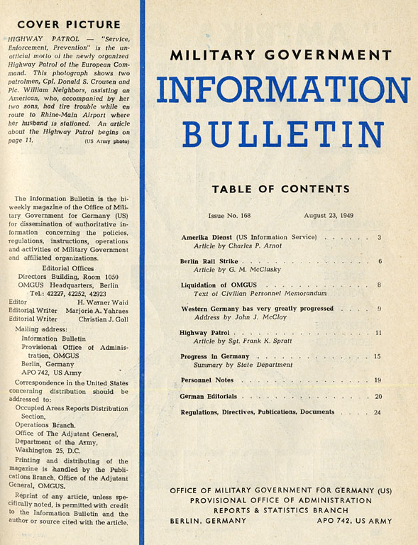 History: Information bulletin (No  168): Table of contents