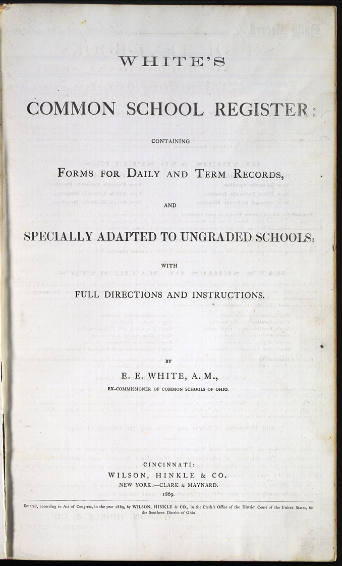 The State Evansville School Register 1871 Title Page Whites