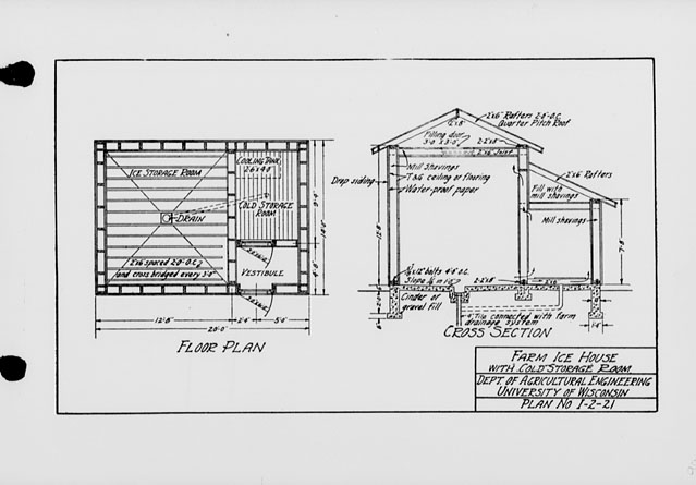 The state index of plans october 1924 farm ice house for Storage room plan
