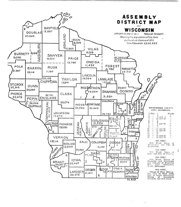 The State: The Wisconsin Blue Book: Assembly district map of Wisconsin