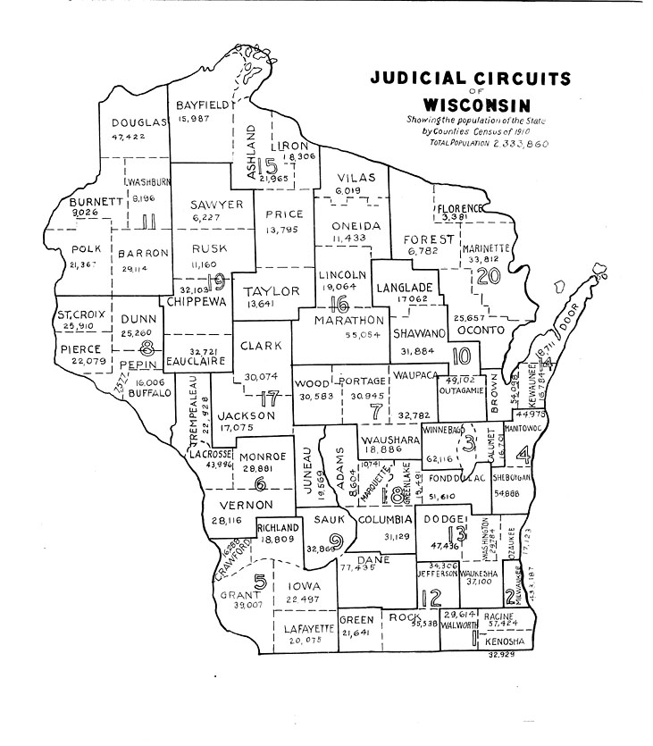 The State The Wisconsin Blue Book Judicial Circuits Of Wisconsin