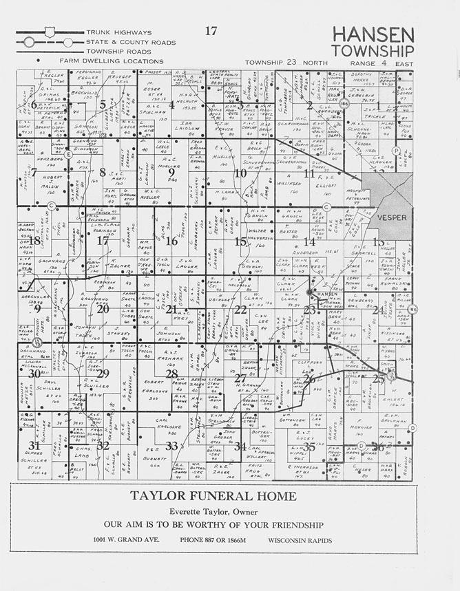 Wisconsin 1930 Wood County Cranmoor Marshfield Cameron ... |Cranmoor Wood County Wisconsin Plat Map