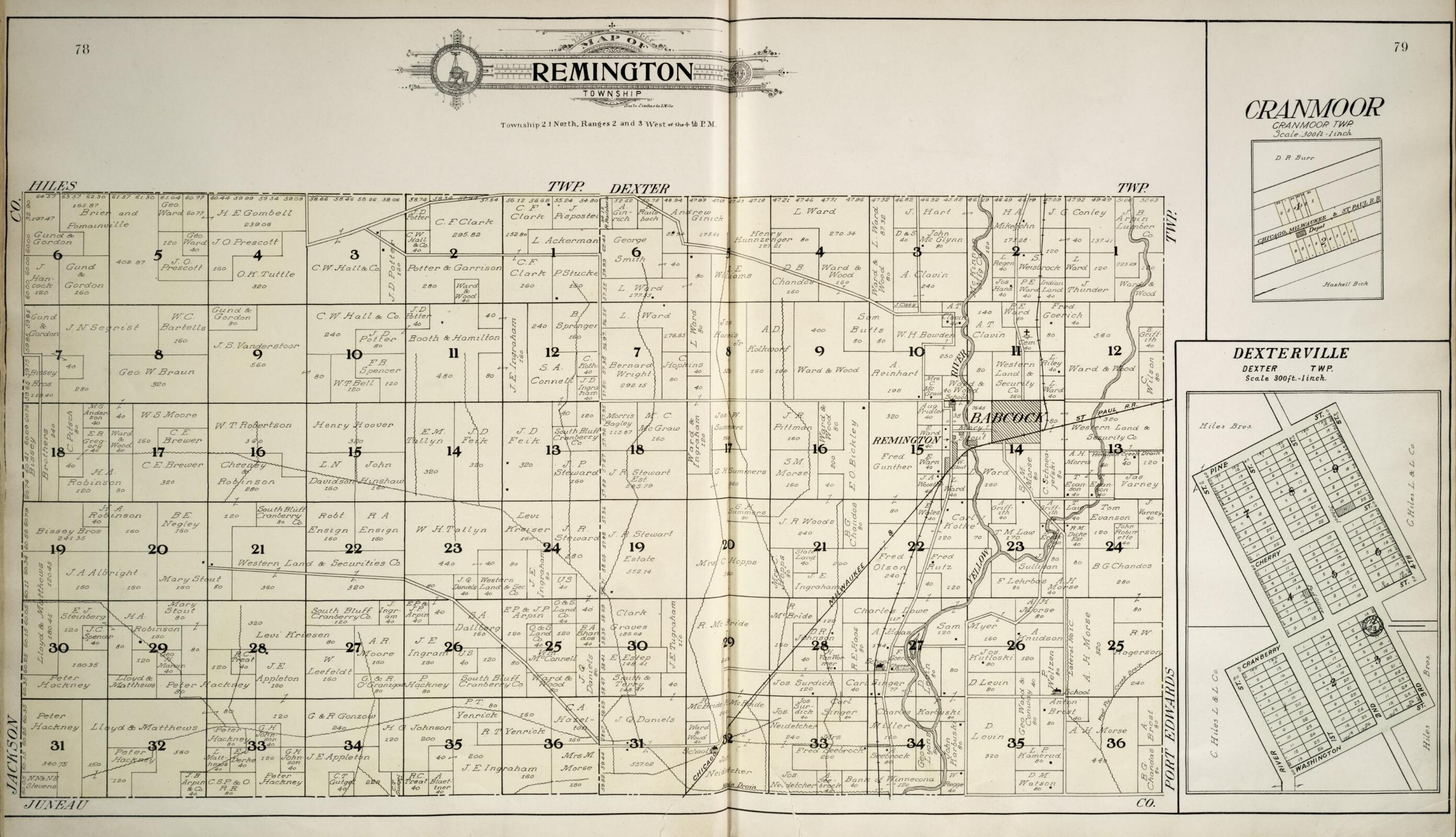 Wisconsin Geological & Natural History Survey » Plate 1 ... |Cranmoor Wood County Wisconsin Plat Map